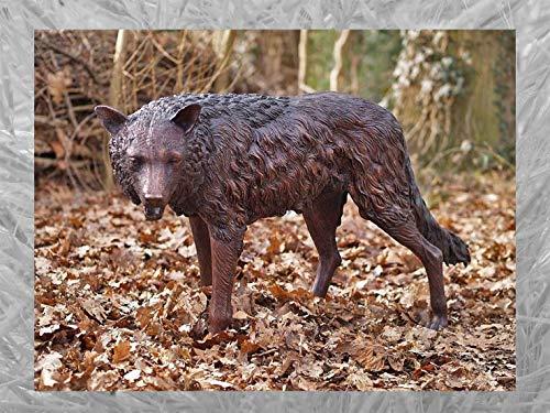 IDYL Escultura de bronce de pie de lobo   71 x 43 x 137 cm   Figura de animal de bronce hecha a mano   Escultura de jardín o decoración   Artesanía de alta calidad   Resistente a la intemperie
