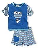 Schnizler Baby-Jungen Anzug-Set Interlock 2-teilig Hund Ringel kurz Bekleidungsset, Blau (blau 7), 62