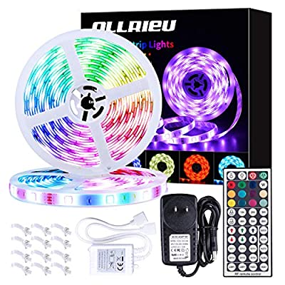 LED Strip Lights 32.8ft RGB 5050 Tape Light Waterproof 12V Color Changing Rope Light Kit Outdoor with RF Remote Power Plug-in Dimmable Flexible Indoor Decorative Lighting for Bedroom Kitchen Party
