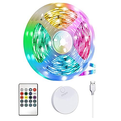 Cadena de luces LED, tira de luz USB RGB 5050 de 2 m con control remoto, 16 colores y 4 modos dinámicos, sincronización con música, para fondos de TV, decoración de dormitorio y hogar