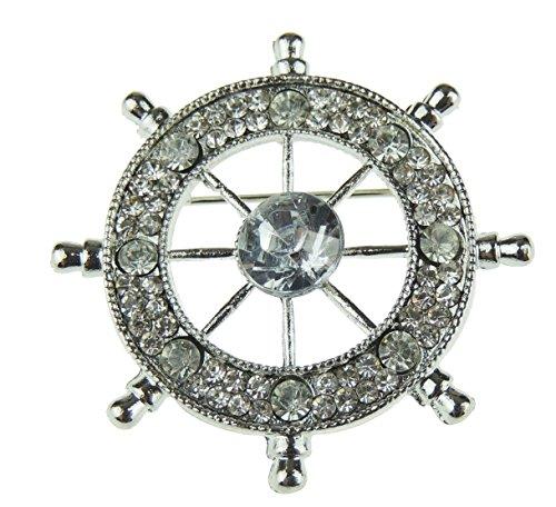 Glamour Girlz Damen Herren Naval Maritime Boat Lover Brosche Diamante Kristall Gold Tone Boat Wheel Silver Tone