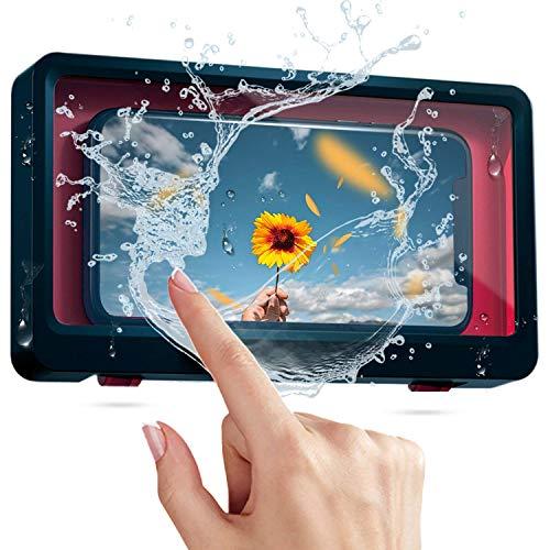 Dusch-Telefonhülle - Wandtasche für die Wand - Touchscreen für Badezimmer Wasserdichter Handyhalter Box-Touchscreen Wandtasche für die Handy - Handyhülle für Handys unter 6,8 Zoll (Navy Blue)