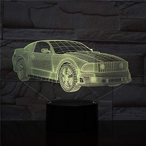 hqhqhq Motor Cars Bus Van Design 3D LED Night Light 7Colors Lámpara cambiante Acrílico Ilusión Lámpara de Escritorio para niños Gift Drop 111