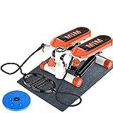 HYDT Máquinas de Step para Fitness Mini Entrenador Stepper Altura Ajustable, Pasador de Escalera Giratorio Portátil con Bandas de Resistencia, para Sala de Estar Oficina Gimnasio, 330 Libras