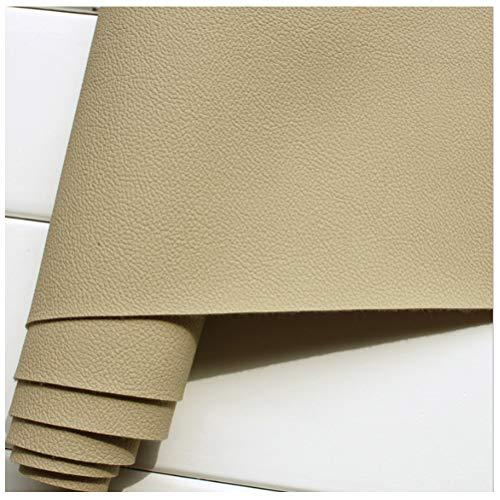 Tela de Cuero Sintético 140 Cm de Ancho Tela de Cuero Sintético PU, para Cuero de Sofá, Asiento de Cuero Interior de Automóvil (Caqui Claro)(Size:1.4 * 3m)