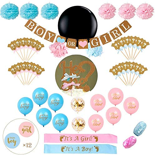 Gender Reveal Party Supplies Essentials 73 Piece Complete with Glitter Cupcake Toppers, a Glitter Cake Topper, Gender Reveal Balloons (String Included), pom poms, sash, Banner, and Reveal Stickers.