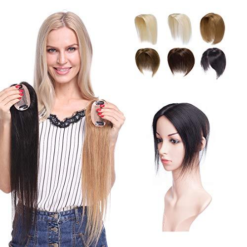 Hair Topper Donna Capelli Veri Clip Extension Remy Human Hair Umani Silk Lace per Top Testa Super Realistico Protesi Toupet 15g/Fascia Unica Toupee (15cm, 1B# Nero Naturale)