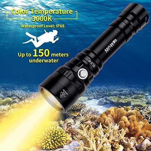 Wurkkos Linterna de buceo con 1000 lúmenes, resistente al agua hasta 150 m, LED Cree XPL con luz blanca cálida (3000 K), incluye 1 batería 18650 y cargador, impermeable IPX-8.