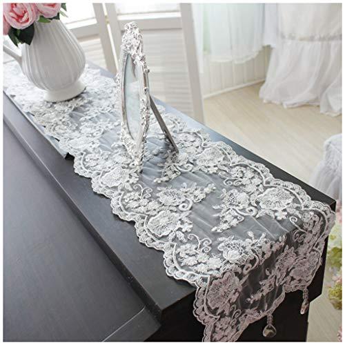 MeiMei Drapeau de Table en Pendentif en Cristal coréen - Blanc - Drapeau de Table Basse avec Coiffeuse Simple (7 Tailles Disponibles) (Taille : 24X120CM)