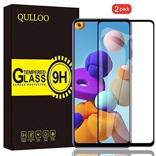 QULLOO Panzerglas für Samsung Galaxy A21s, 9H Gehärtetes Schutzfolie Anti-Kratzer Glas Folie Displayschutzfolie für Samsung Galaxy A21s - [2 Stück] Schwarz