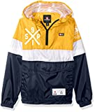 Southpole Boys' Big Anorak Colorblock Water Resistance Hooded Pullover, Yellow/Zip Off Sleeve, Large