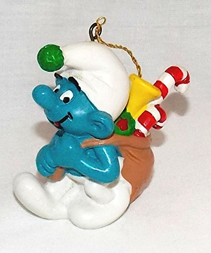 1981 Vintage 2.25' Smurf with Sack of Gifts PVC Christmas Ornament