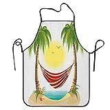Not Applicable Ocio navideño de Dibujos Animados con calmante Hamaca Entre Palmeras Trópico Isla Delantal Unisex Cocina Babero Cuello para cocinar jardinería, tamaño Adulto