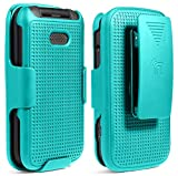 Case with Clip for Alcatel Smartflip/Go Flip 3, Nakedcellphone [Teal Mint Cyan] Snap-On Cover with [Rotating/Ratchet] Belt Hip Holster Holder for Alcatel Go Flip 3, Alcatel Smartflip Phone (2019)
