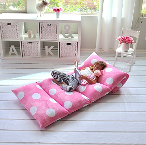 Butterfly Craze Pillow Bed Floor Lounger Cover - Perfect for Pillow Recliners & Kid Beds for Reading Playing Games or at a Sleepover or Slumber Party - Light Pink Polka Dot, Queen