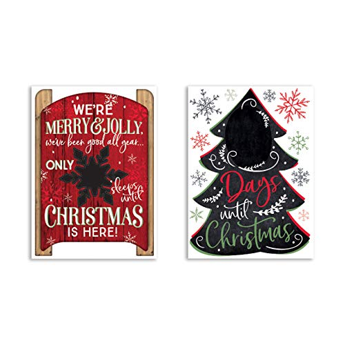 B-THERE Bundle of Christmas Xmas Decorations 11.25' x 17' Adhesive Chalkboard Countdown Decals, Winter Holiday Decorations with Chalk