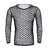 iEFiEL Herren Unterhemd Netzhemd schwarz transparent Unterwäsche Stretch Netz T-Shirt Hemd Tops Clubwear M-XL (Medium, Schwarz Langarm Shirt)