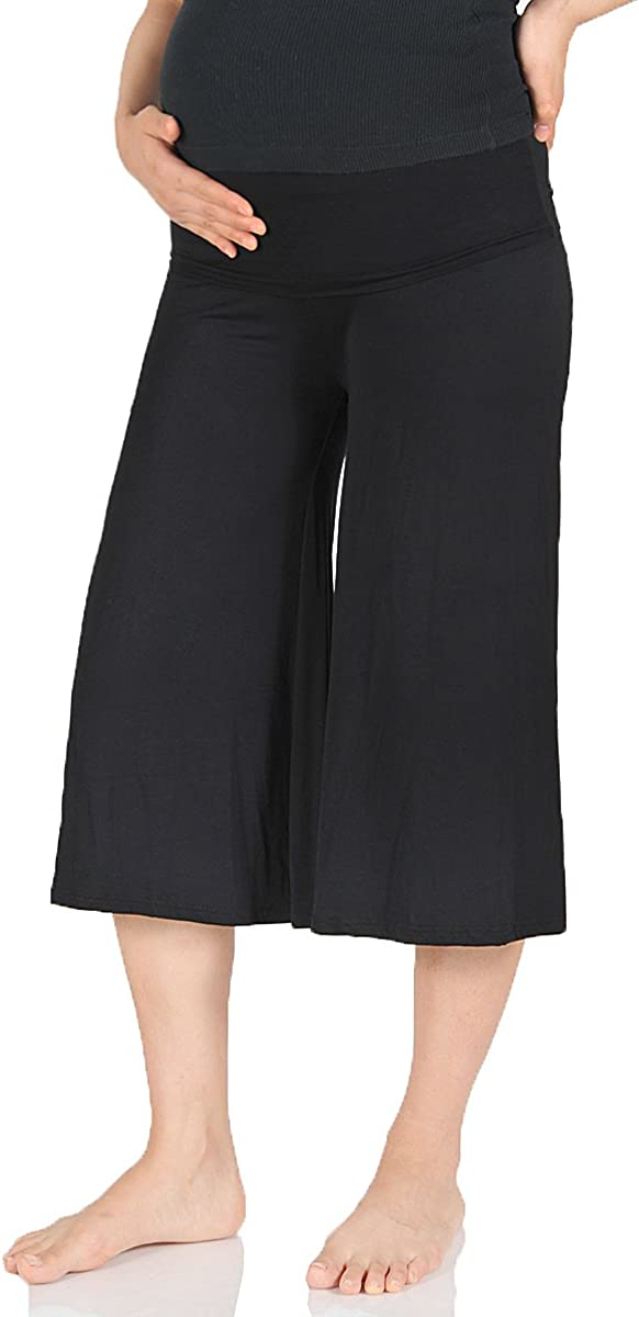 Beachcoco Women's Maternity Capri Pants – High Waisted Wide Leg Casual Lounge Pregnancy Short Trouser Heavy Rayon Spandex at  Women's Clothing store