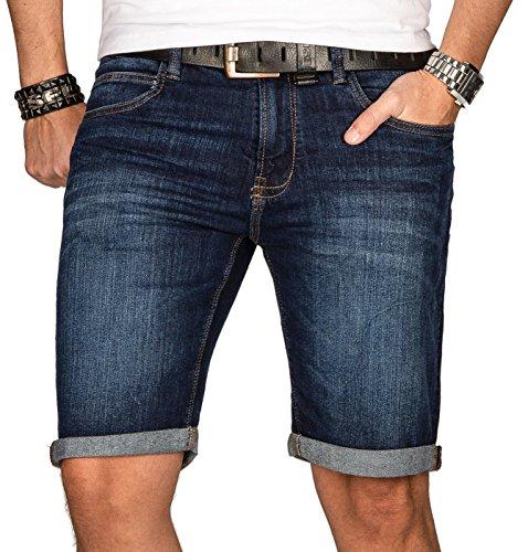 Indicode Herren Sommer Jeans Shorts Kurze Hose Sommerhose Short Bermuda B556a [B556a-Dunkelblau-Gr.L]