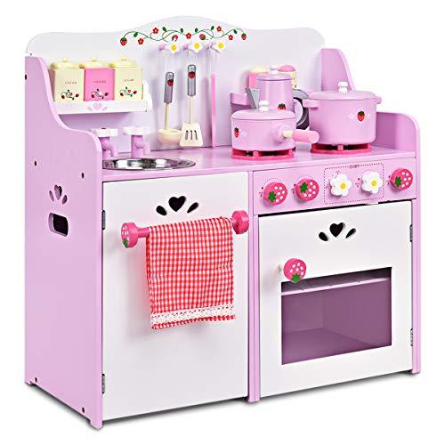 GOPLUS Kinderküche aus Holz, Spielküche mit Wasserhahn, Spielzeug-Küchenzeile, Spielzeugküche mit Schränken, Holzküche Kinder, Kinderspielküche mit Zubehör, Pink