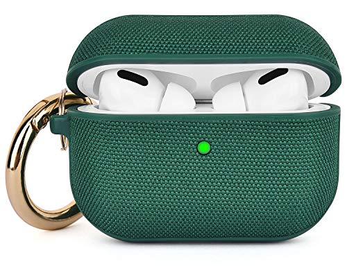 V-MORO Tuch with PC Airpods Pro Hülle Case Kompatibel mit Apple AirPods Pro Wireless Hülle Case Airpods Pro Schutzhülle (LED an der Frontseite sichtbar) - [Unterstützt Kabelloses Laden] (Green)