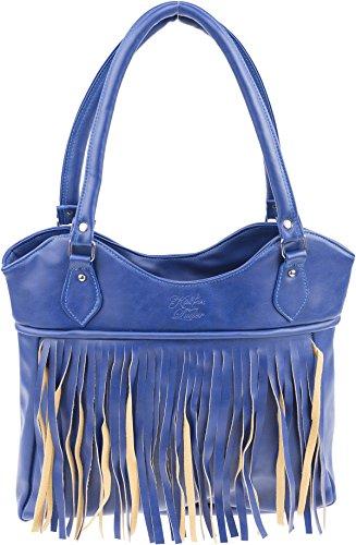 Küstenluder Damen Handtasche Carla Vintage Boho Fransentasche Mehrfarbig B: 33cm x H: 32cm (ohne) bzw. 54cm (mit) x T: 7cm
