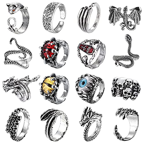 RnBLM JEWELRY 16 Pieces Vintage Punk Rings for Women Men Silver Black Dragon Snake Claw Skull Octopus Eyes of Hell Open Adjustable Gothic Rings Set