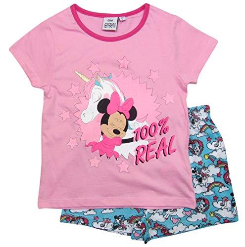 Minnie Mouse Schlafanzug Mädchen Disney Shortie Einhorn (Rosa-Blau, 98-104)