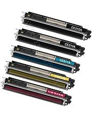 5 tóneres (2 negros, negro, cian/azul, amarillo, magenta/rojo) compatibles con HP ColorLaserJet PRO CP 1025 CP1025 NW M175A HP 126A - HP CE310 A, CE 310A , CE311A , CE 311A , CE312A , CE 312A , CE312A 313A. CE 313A / HP Laserjet PRO 100 Color MFP M 175 NW, MFP M175, 126 A.
