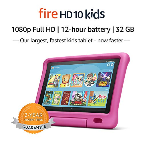 "Fire HD 10 Kids Tablet – 10.1"" 1080p full HD display, 32 GB, Pink Kid-Proof Case (2019 Release)"
