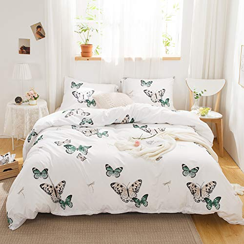MOVE OVER Butterfly Bedding White Duvet Cover Set Green Butterflies and Dragonfly Printed Design Soft White Boys Girls Bedding Sets Queen 1 Duvet Cover 2 Pillowcases (Queen, Butterfly)