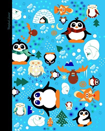 Notizbuch Liniert: Kinder Weihnachtsgeschenke mit Eulen & Pinguinen; ein süßes Notizbuch (Taschenbuch, etwas kleiner als A4, mit Inhalt & 100 Seiten) Cartoon Pinguine Sortiment (Notizbücher, Band 68)