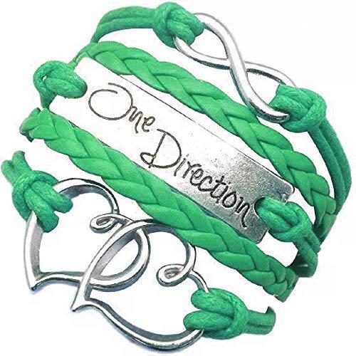 Lovelegis Bracciale da Ragazza - Braccialetto - Cuore - Cuoricino - Musica - Multifilo - Intrecciato - One Direction - Infinito - Colore Verde - Idea Regalo