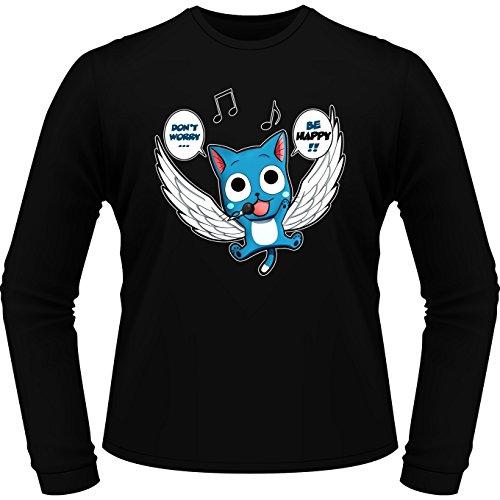 Okiwoki T-Shirt à Manches Longues Noir Fairy Tail parodique Happy : Don't Worry. Be Happy !! (Parodie Fairy Tail)