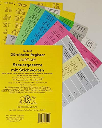 DürckheimRegister STEUERGESETZE mit Stichworten (2020): 190 Registeretiketten (sog. Griffregister) STEUERGESETZE mit STICHWORTEN • Für deine EStG, ... • In jedem Fall auf der richtigen Seite