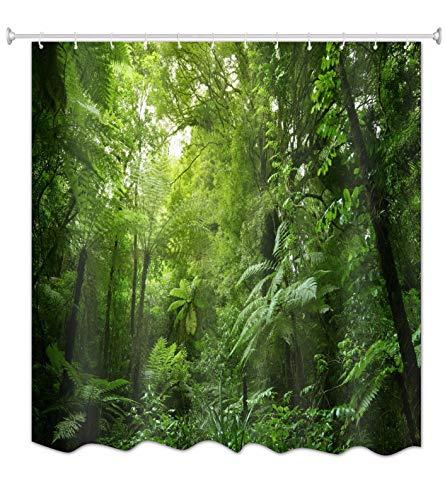 A.Monamour Duschvorhänge Grüner Regenwald Wald Dschungel Tropische Blätter Pflanzen Natur Landschaft Drucken Wasserdicht Mehltau Resistenten Polyester Stoff Duschvorhang Für Badezimmer 180X200 cm