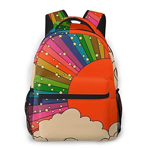 IUBBKI 3D Print Rainbow 70s Sun Casual Backpack,Multifunctional Schoolbag Knapsack Rucksack