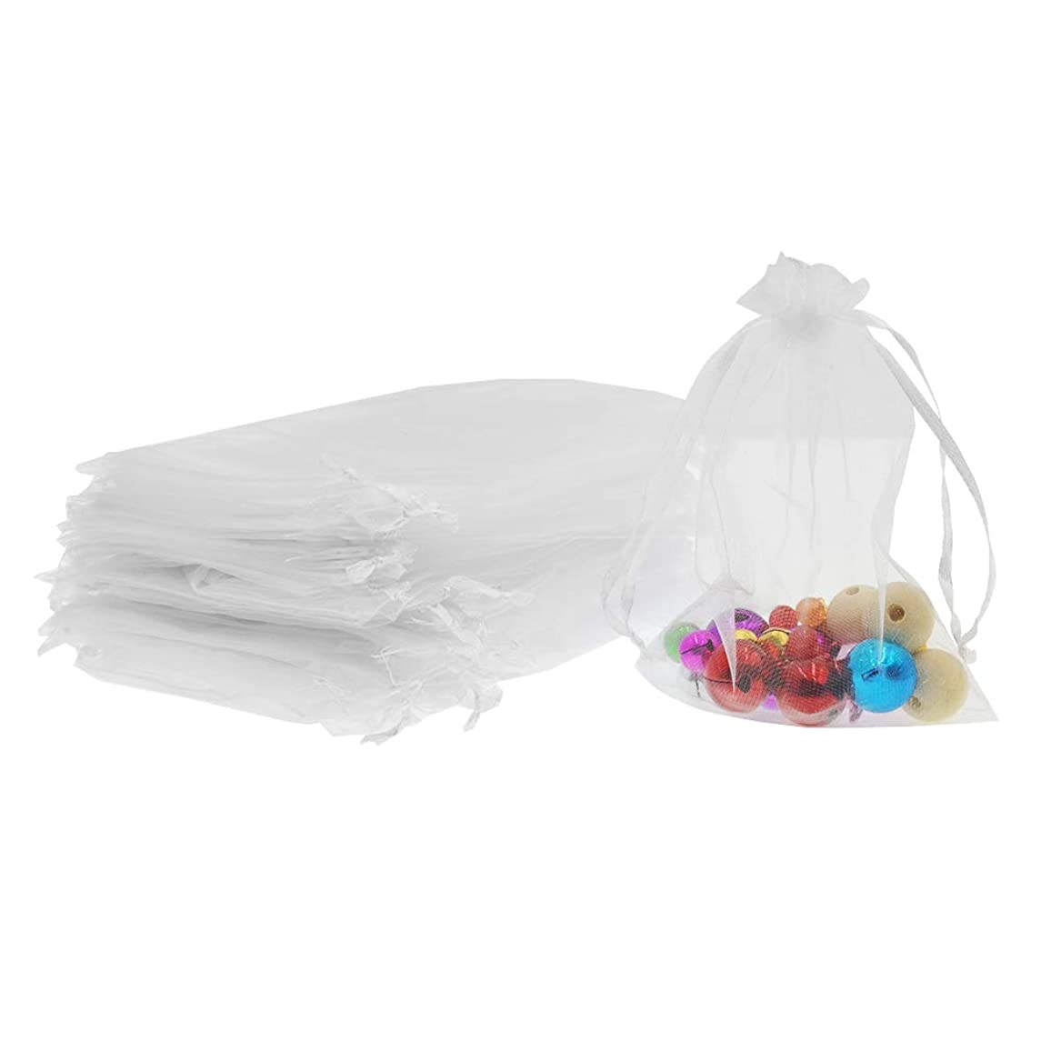 Lautechco 100Pcs Organza Bags 7x9 inches White Organza Gift Bags Small Mesh Bags Drawstring Gift Bags Christmas Drawstring Organza Gift Bags (7x9 inches White)