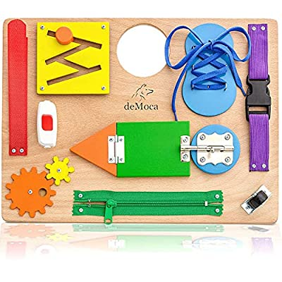 Montessori Busy Board for Toddlers - Wooden Sensory Toys - Toddler Preschool Learning Activities for Fine Motor Skills Travel Toy – Educational Learning Toys for 3 Years Old Boys & Girls from deMoca Busy Board
