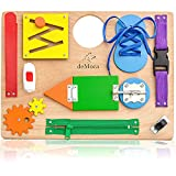 Montessori Busy Board for Toddlers - Wooden Sensory Toys - Toddler Learning Activities for Fine Motor Skills Travel Toy - Educational Toys for 3 Years Old Boys & Girls
