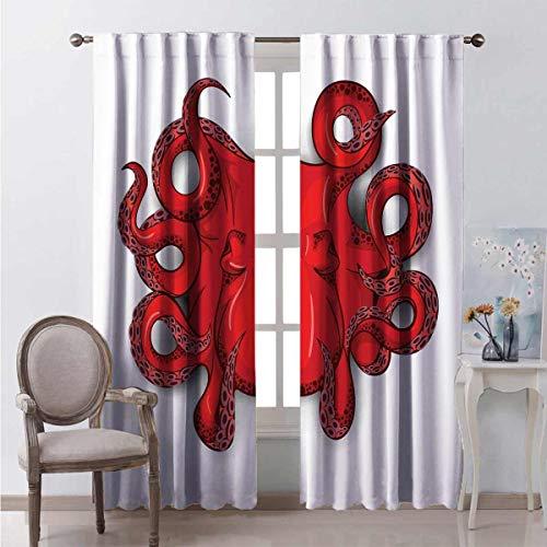 Octopus Decor - Cortinas de bolsillo en forma de barra para sala de estar (52 x 172 cm), diseño sencillo