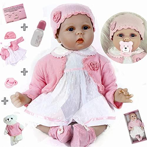 ZIYIUI Reborn Doll 22 Pulgadas 55cm Reborn Doll Soft Simulación Silicona Vinilo Realista Juguete Hecho a Mano Big Eyed Doll Niños y niñas Mayores de 3 años Regalo de cumpleaños