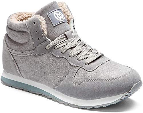 Gaatpot Herren Damen Winterschuhe Schneestiefel Winter Hohe Sneakers Warm gefütterte Leder Schnür Stiefel Boots Schuhe Grau45EU=47CN