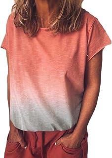 Suncolor8 Women's Short Sleeve Gradient Color Plus Size Loose T-Shirt Tee Blouse Tops