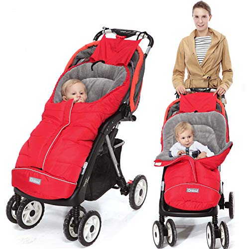 Orzbow Fußsack für Kinderwagen Buggy,Baby Fußsack Schlafsack,Babyfußsack für Babyschale,Winterfußsack mit Reißverschluss Waschbar Passend für Alle Kinderwagen (Rot,Groß)