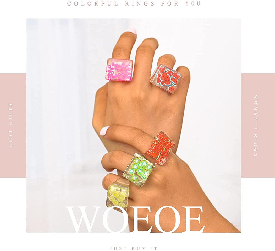 Woeoe Chunky Resin Acrylic Ring Plastic Colorful Rings Set Transparent Handmade Trendy Finger Rings Set for Women and Girls(5Pcs)