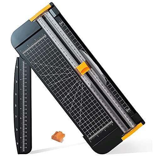FaceColor ペーパーカッター ペーパートリマー 軽量ミニ裁断機 替刃付き 安全仕様 軽量タイプ コンパクト スライドカッター A4 対応 ペーパー 写真 クーポン ラベル カード裁断 定規をつける (ブラック)