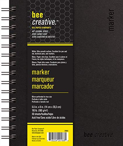 Bee Paper Company BEE-20001 Creative Marker Book, 5-1/2' x 8', 5-1/2-inch x 8-inch, 50 Sheet Art Journal