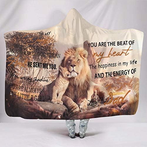 Ouniaodao Manta universal con capucha para mi hija de papá, manta acogedora – Padre León para adulto, color blanco 50 x 60 pulgadas