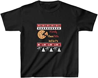 Zik Smart Solution A Lovely Cheese Pizza Just for Me Kids Heavy Cotton Tee (Black, XL)